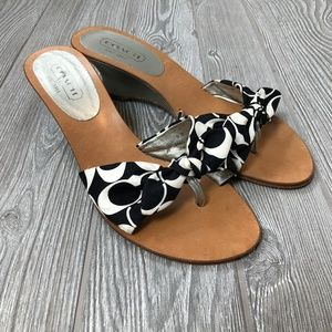 Coach Black White Sandal Wedges Women's 9 S169